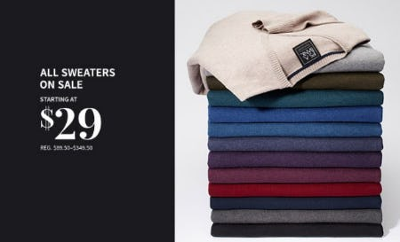 All Sweaters on Sale Starting at $29 from Jos. A. Bank