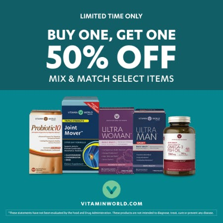 BUY ONE, GET ONE 50% OFF MIX & MATCH from Vitamin World