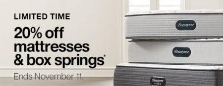 20% Off Mattresses & Box Springs from Crate & Barrel