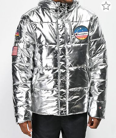 Champion Metallic Silver Puffer Jacket from Zumiez