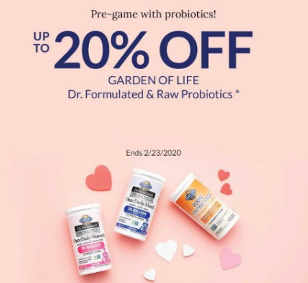 Up to 20% Off Garden of Life from The Vitamin Shoppe