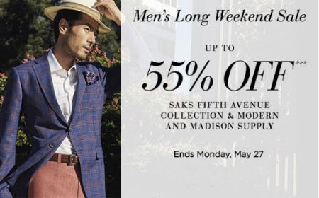 Up to 55% Off Men's Long Weekend Sale from Saks Fifth Avenue