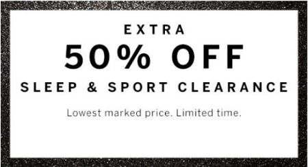 Extra 50% Off Sleep & Sport Clearance from Victoria's Secret