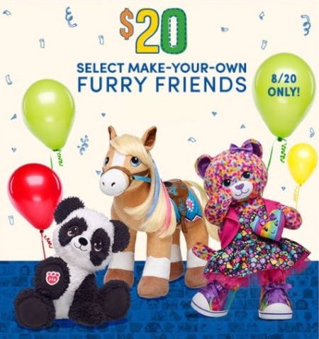 $20 Select Make-Your-Own Furry Friends & $2 Select Sounds