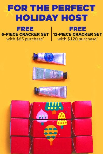 Free 12-Piece Cracker Set with $120 Purchase from L'Occitane