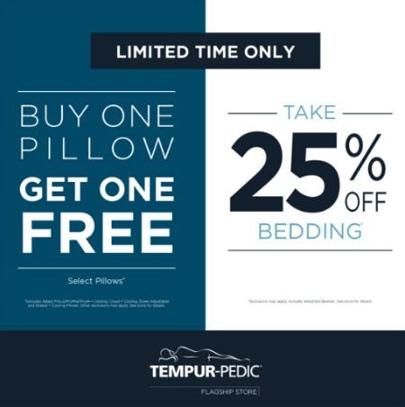 Buy One Pillow, Get One Free & Take 25% Off Bedding