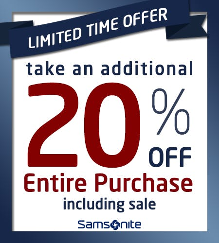 Save an Additional 20% off Entire Purchase! from Samsonite