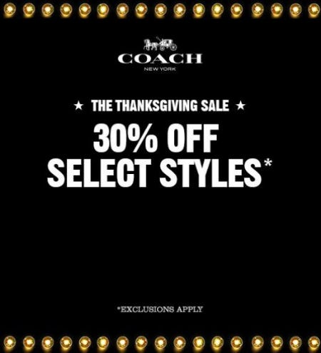 Thanksgiving Sale from Coach