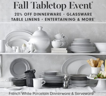 20% Off Fall Tabletop Event from Williams-Sonoma