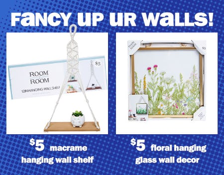 $5 Macrame Hanging Wall Shelf & $5 Floral Hanging Glass Wall Decor from Five Below