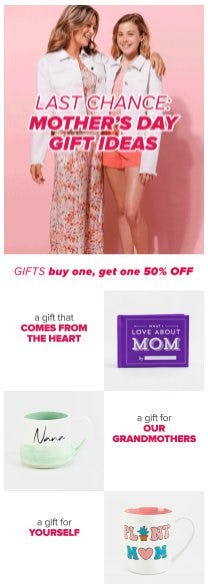 Gifts and Home Buy One, Get One 50% Off from francesca's