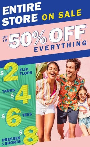 Up to 50% Off Everything from Old Navy