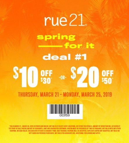 $10 Off $30 or $20 Off $50 from rue21