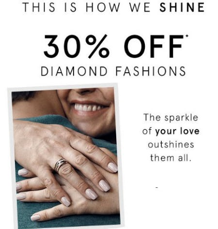 30% Off Diamond Fashions from Kay Jewelers