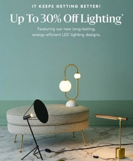 Up to 30% Off Lighting from West Elm