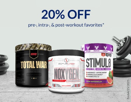20% Off Pre-, Intra-, & Post- Workout Favorites from The Vitamin Shoppe
