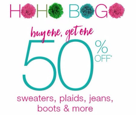 Buy One, Get One 50% Off Sweaters, Plaids, Jeans, Boots & More