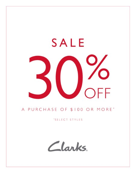 Get 30% off $100 from Clarks