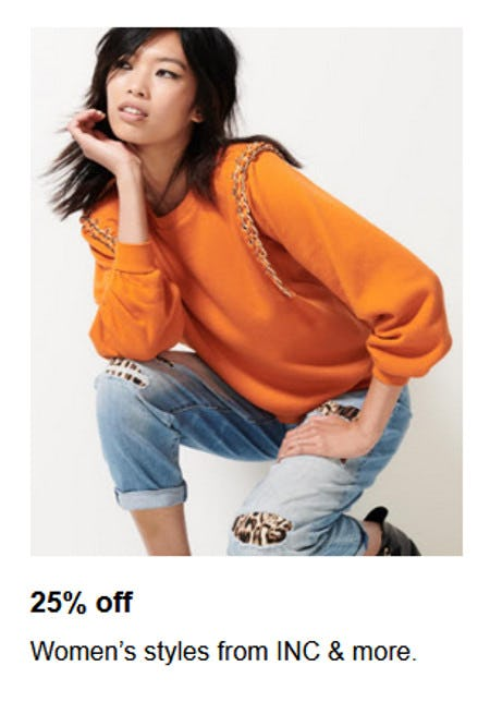 25% Off Women's Styles from INC & More from macy's