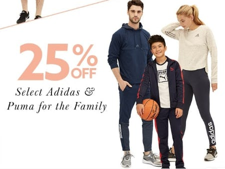 25% Off Select Adidas & Puma for the Family