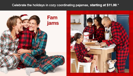 Pajamas Starting at $11.99 from Target