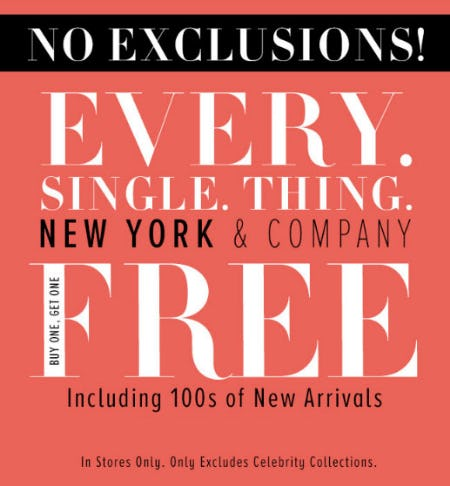 BOGO Free Everything from New York & Company