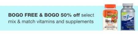BOGO Free & BOGO 50% Off Select Mix & Match Vitamins and Supplements