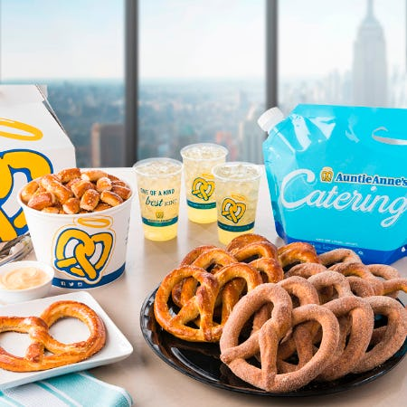 $15 OFF Auntie Anne's Pretzel Catering for National Pretzel Day, 4/26! from Auntie Anne's