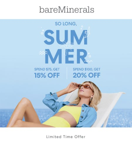 Labor Day Weekend Event (15% off a $75 Purchase, 20% off a $100 Purchase) from bareMinerals