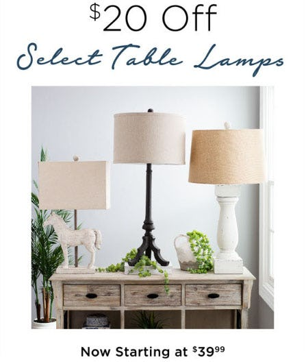 $20 Off Select Table Lamps from Kirkland's Home