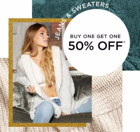Jeans & Sweaters Buy One, Get One 50% Off