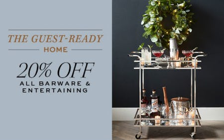 20% Off All Barware & Entertaining from Pottery Barn