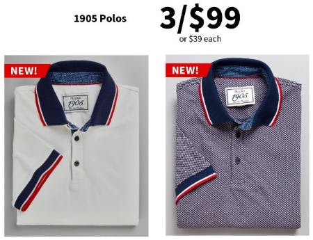 1905 Polos 3 for $99 or $39 Each from Jos. A. Bank