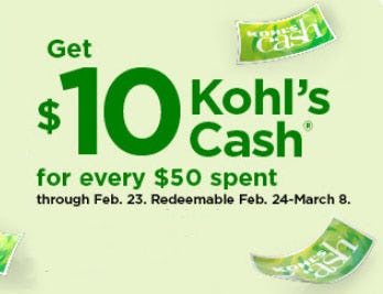$10 Kohl's Cash For Every $50 Spent from Kohl's