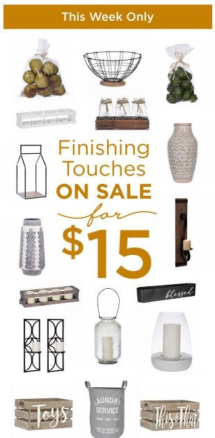 Finishing Touches on Sale for $15 from Kirkland's Home