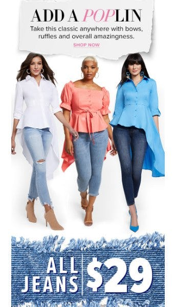 $29 All Jeans from Woodlands Anc Acq/New York & Co