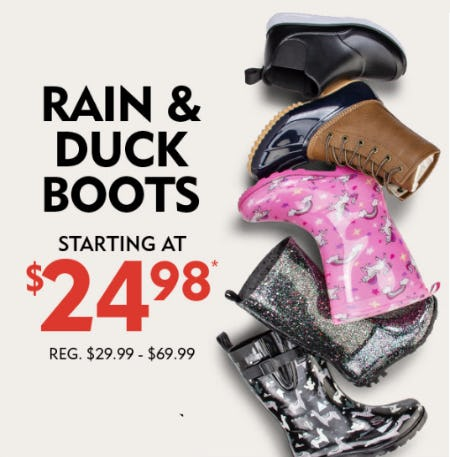 Rain & Duck Boots Starting at $24.98 from Shoe Carnival