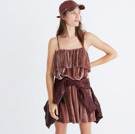 Crushed Velvet Ruffle Cami Top