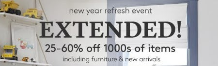New Year Refresh Event: 25–60% Off 1000s of Items from Pottery Barn Kids