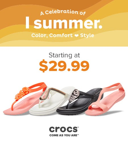 Celebrate Summer with Sanrah and Serena Collections starting at $29.99! from Crocs