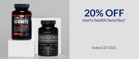 20% Off Men's Health Favorites from The Vitamin Shoppe
