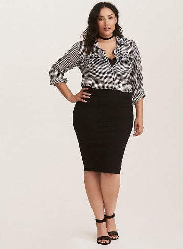 Black Ponte Solid Ponte Pencil Skirt