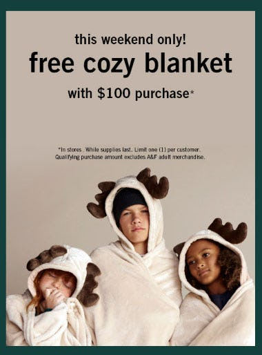 Free Cozy Blanket with $100 Purchase from abercrombie