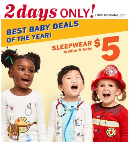Toddler & Baby Sleepwear $5 from Old Navy