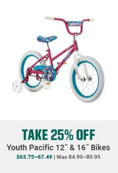 "Take 25% Off Youth Pacific 12"" & 16"" Bikes"