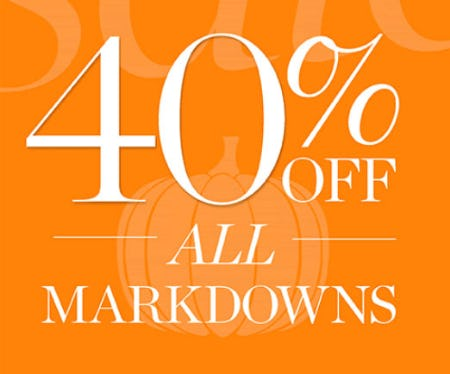 40% Off All Markdowns