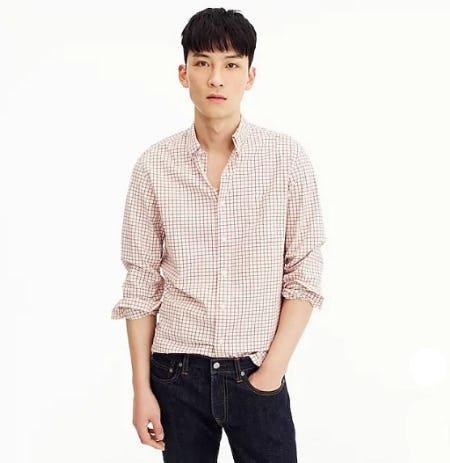 Stretch Secret Wash Shirt In Tattersall from J.Crew