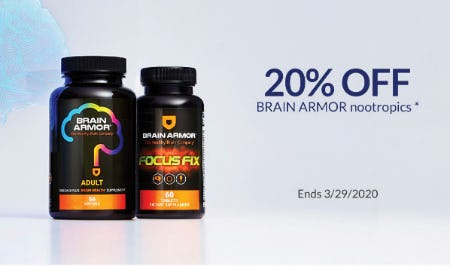 20% Off Brain Armor Nootropics from The Vitamin Shoppe