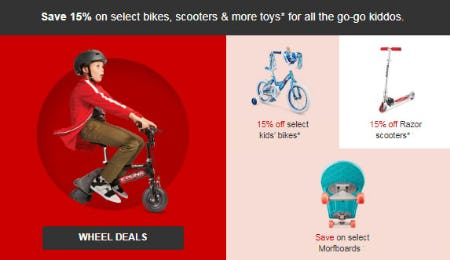 15% Off Select Bikes, Scooters & More Toys from Target