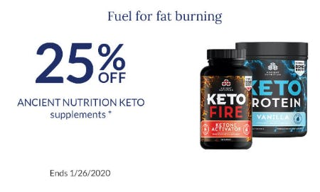 25% Off Ancient Nutrition Keto Supplements